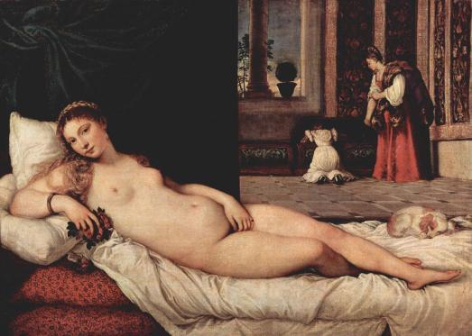 """Tiziano Vecellio """"Venus of Urbino"""" 1538, Galería del Uffizi, Florence"""