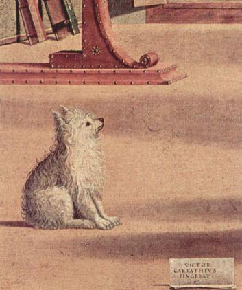 """Vittore Carpaccio """"La visión de Saint-Augustine""""; fragmento"""